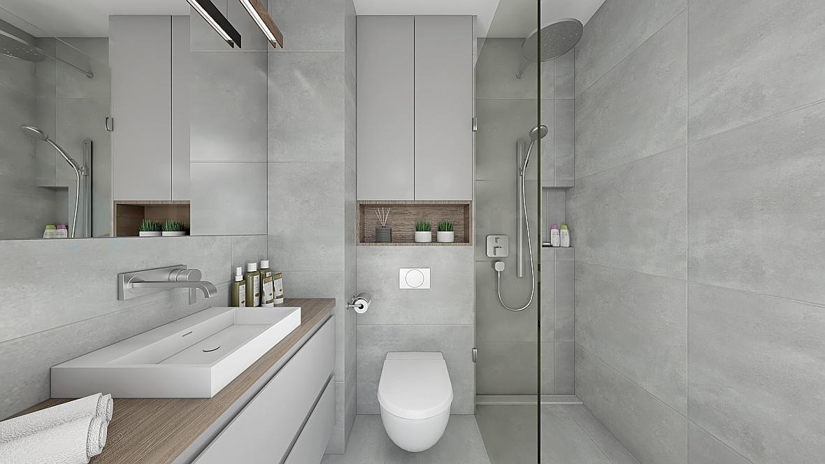Łazienka szara z elementami drewna - kuchnie i łazienki ...