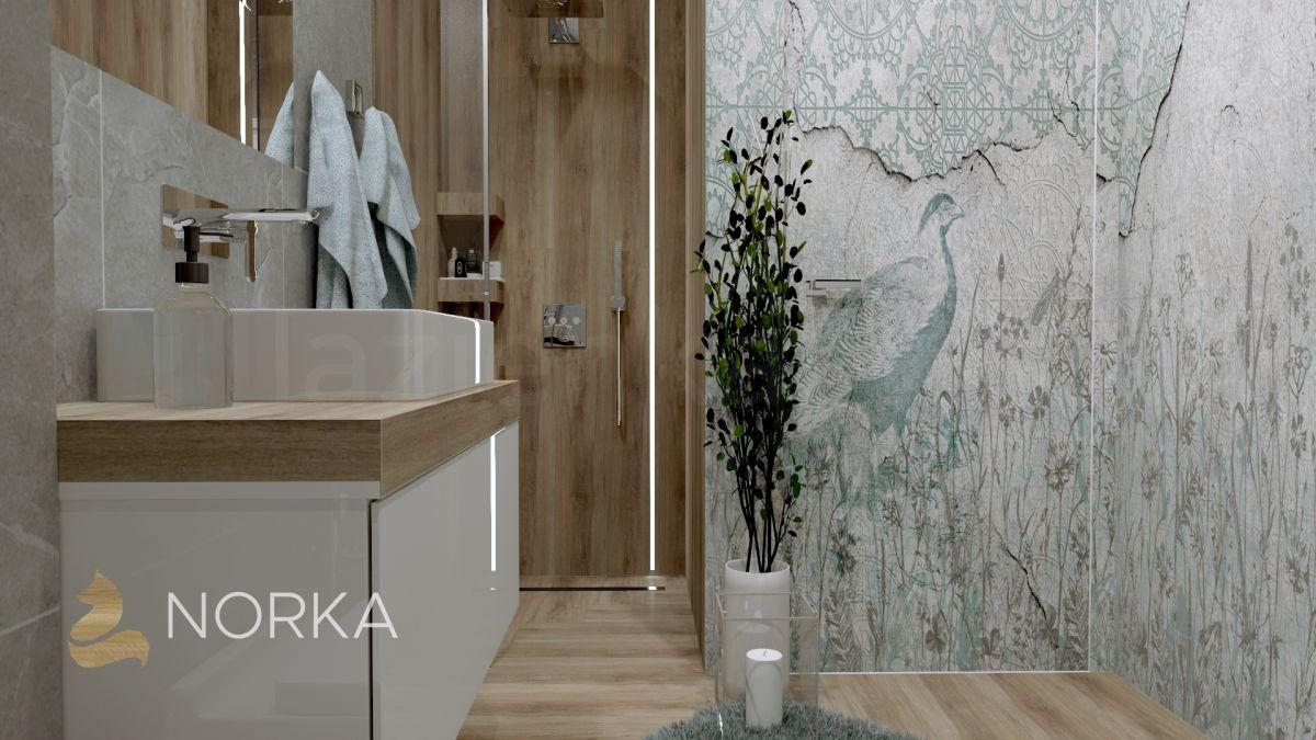 Łazienka z dekoracyjną strefą
