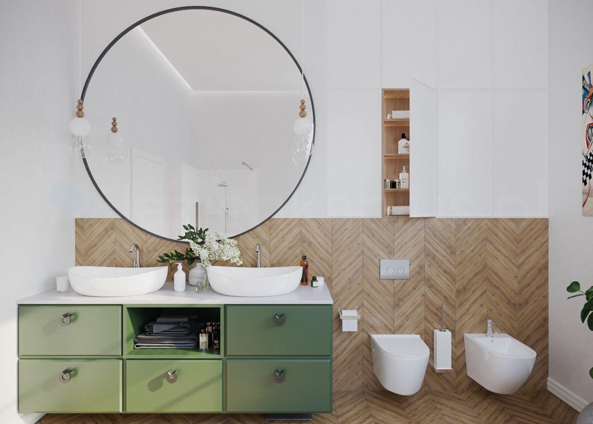 Przytulna łazienka z dużym lustrem