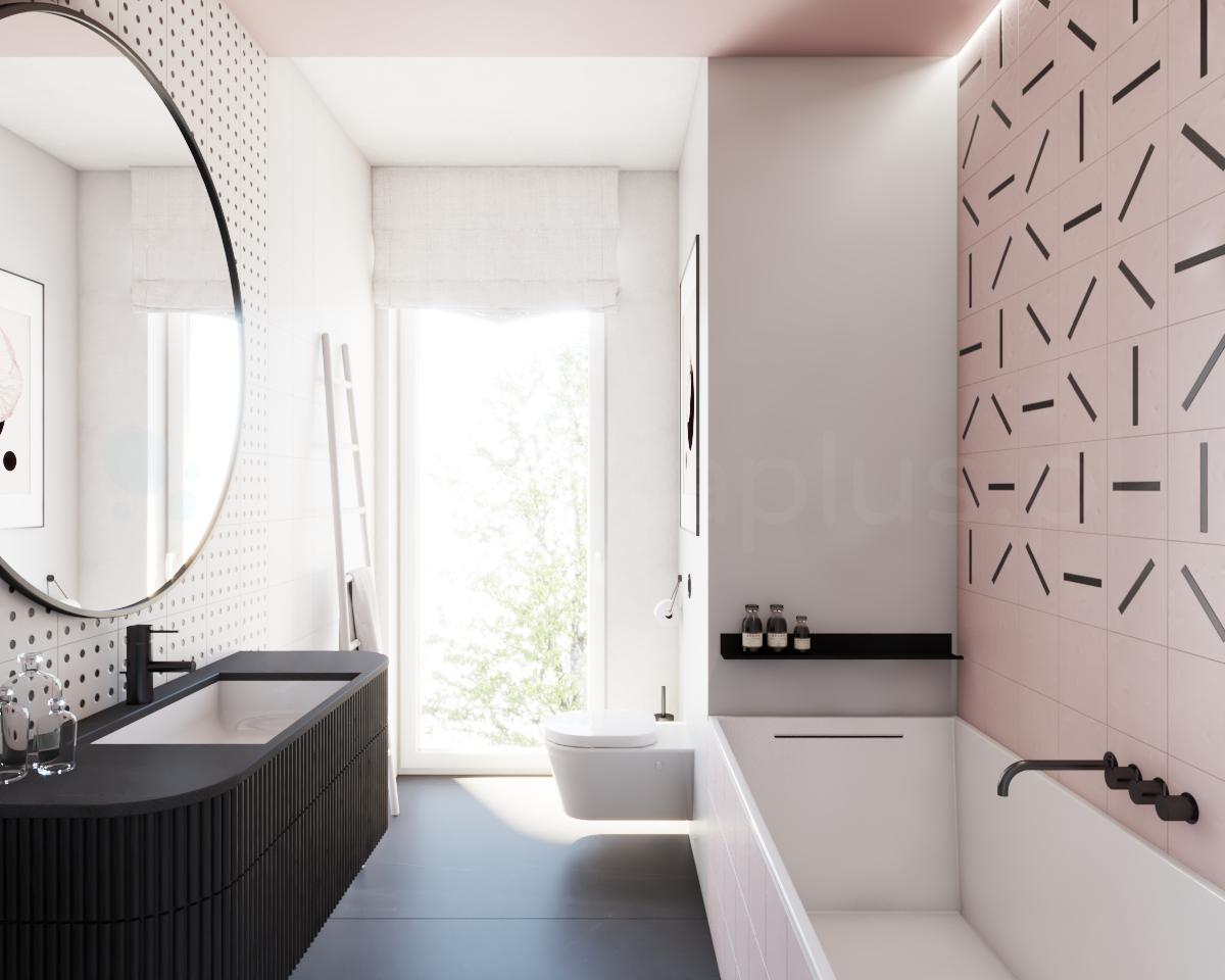 Róż i geometria w łazience