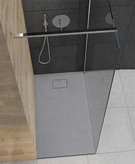 Oltens Bergytan brodzik prostokątny 120x90 cm RockSurface szary beton 15104700