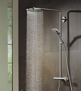Hansgrohe Raindance S PowderRain zestaw prysznicowy ścienny termostatyczny z deszczownicą chrom 27633000