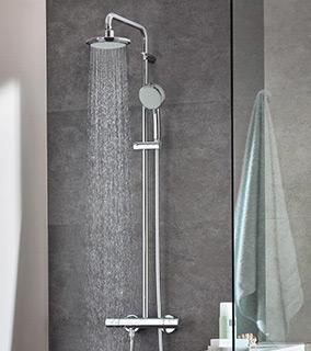 Grohe New Tempesta Cosmopolitan zestaw prysznicowy ścienny termostatyczny z deszczownicą chrom 27922000