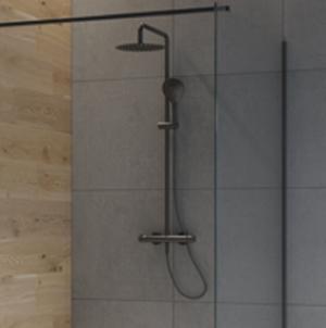Oltens Atran zestaw prysznicowy termostatyczny z deszczownicą okrągłą czarny mat 36500300