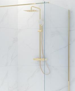 Oltens Atran (S) zestaw prysznicowy termostatyczny z deszczownicą kwadratową złoty połysk 36501800