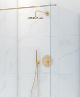 Zestaw Oltens Molle bateria podtynkowa z deszczownicą 30 cm Vindel i kompletem prysznicowym Ume złoty połysk 36600800
