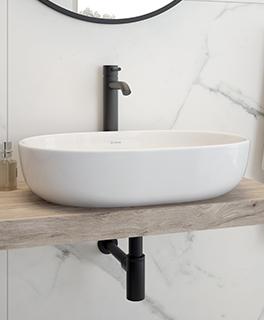 Oltens Hamnes umywalka 47,5x34 cm nablatowa owalna z powłoką SmartClean biała 40809000