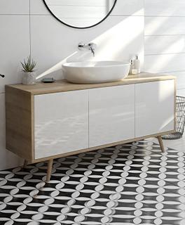 Oltens Hedvig szafka 140 cm podumywalkowa wisząca biały połysk/dąb nova 60201060