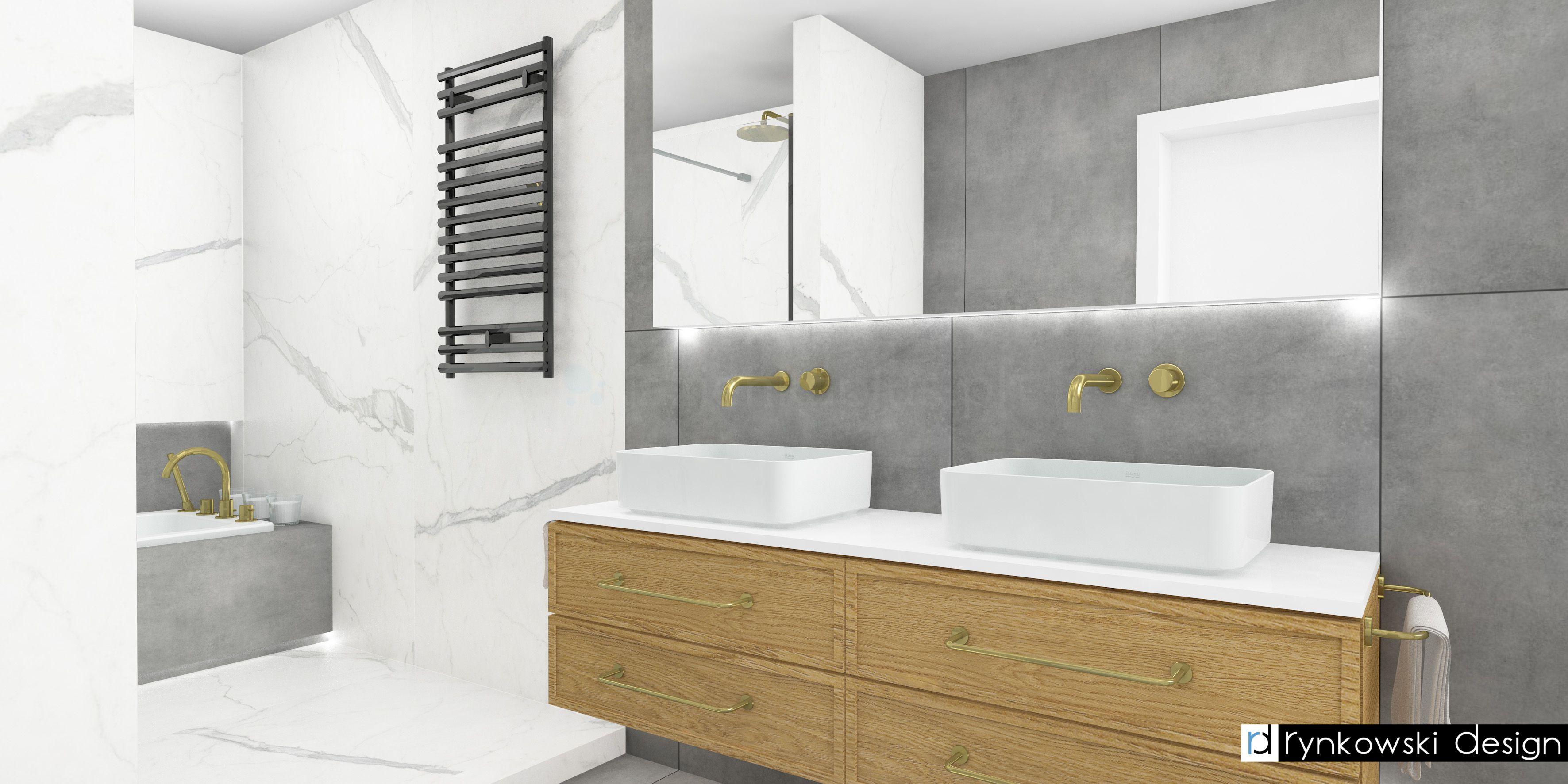Marmur, szarości i złoto w nowoczesnej łazience