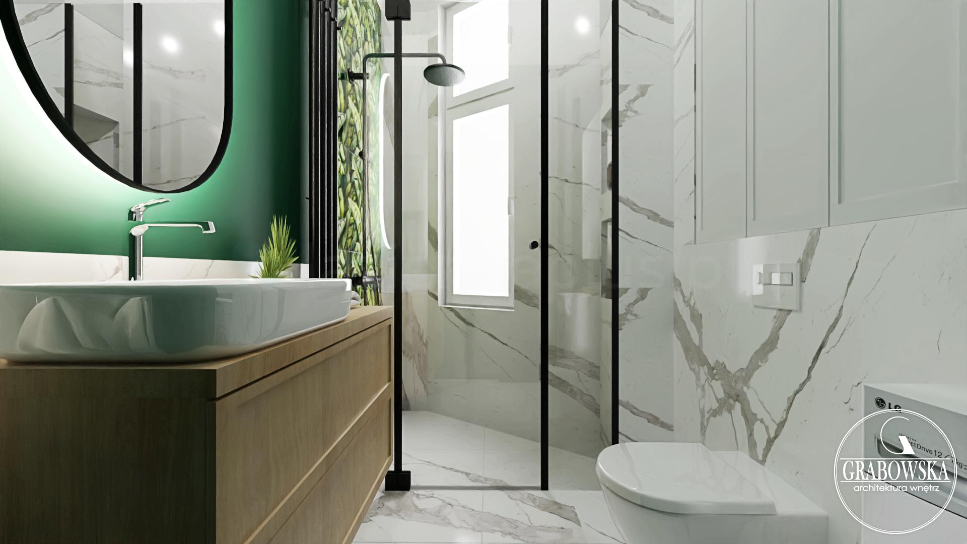 Nowoczesna łazienka z motywem zieleni