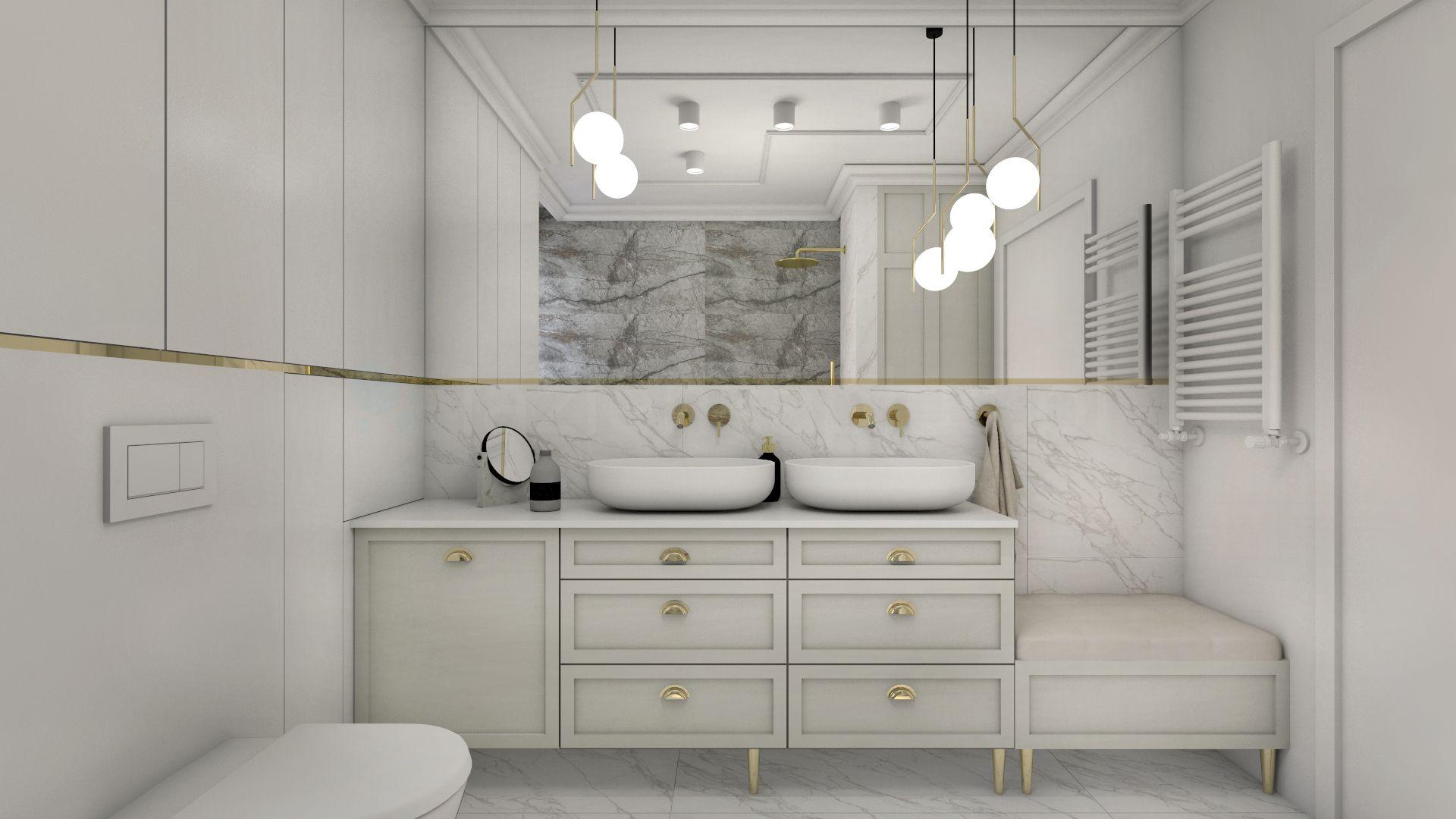 Stylowa łazienka w beżu i szarości