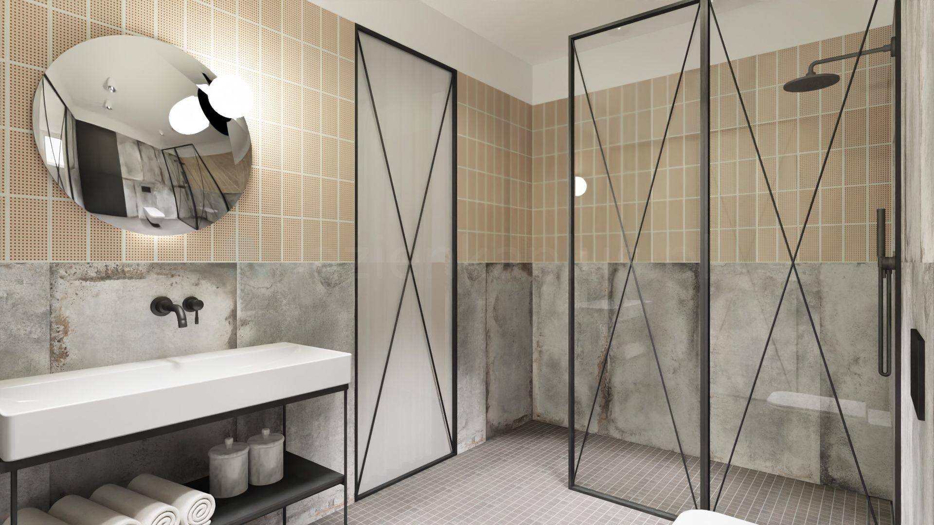 Industrialna łazienka w loftowym klimacieg