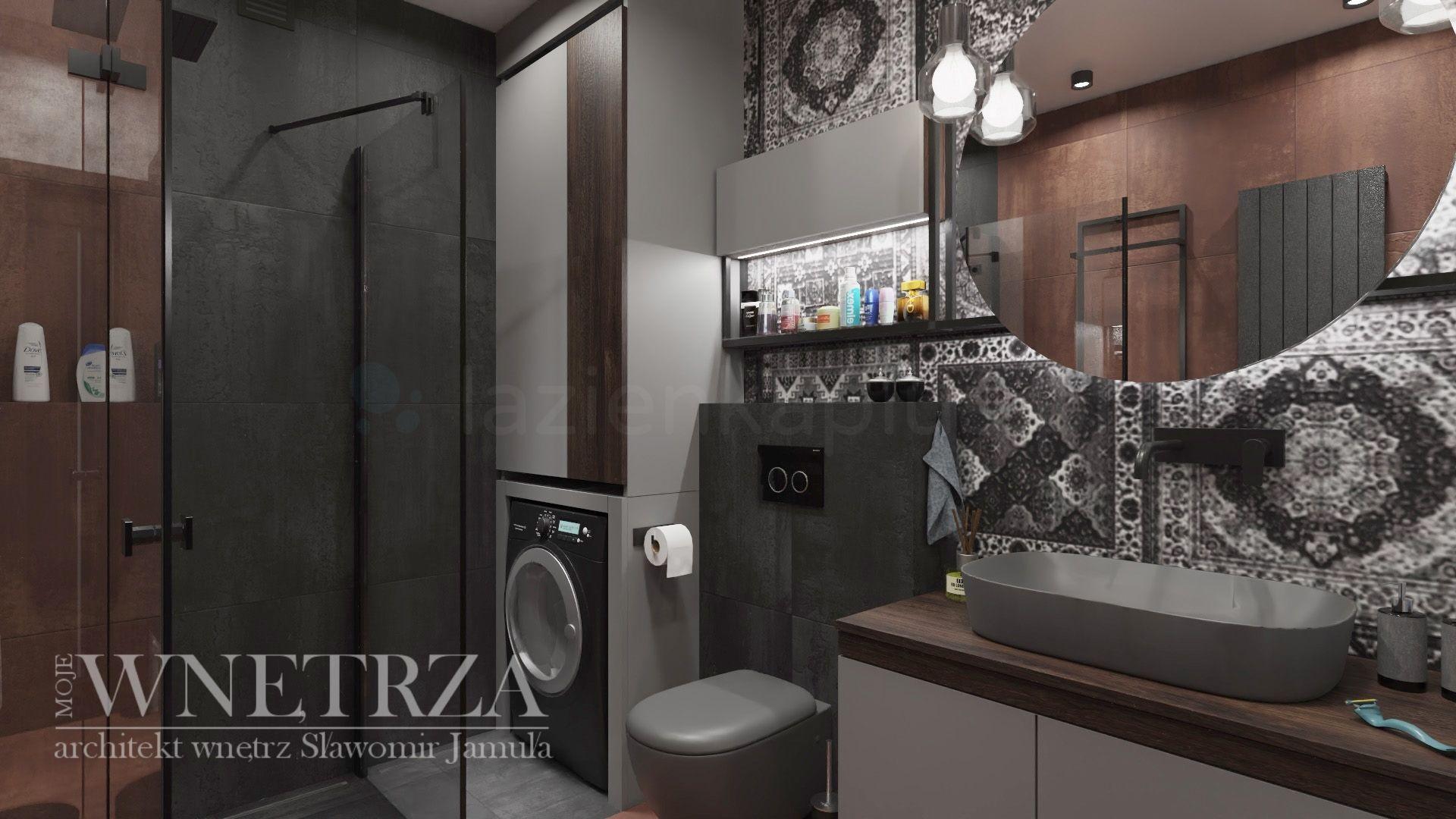 Mała łazienka  w ciemnych barwach z prysznicem