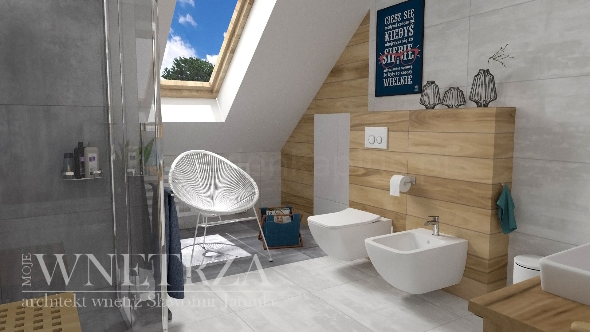 Jasna łazienka ze skosem i oknem dachowym