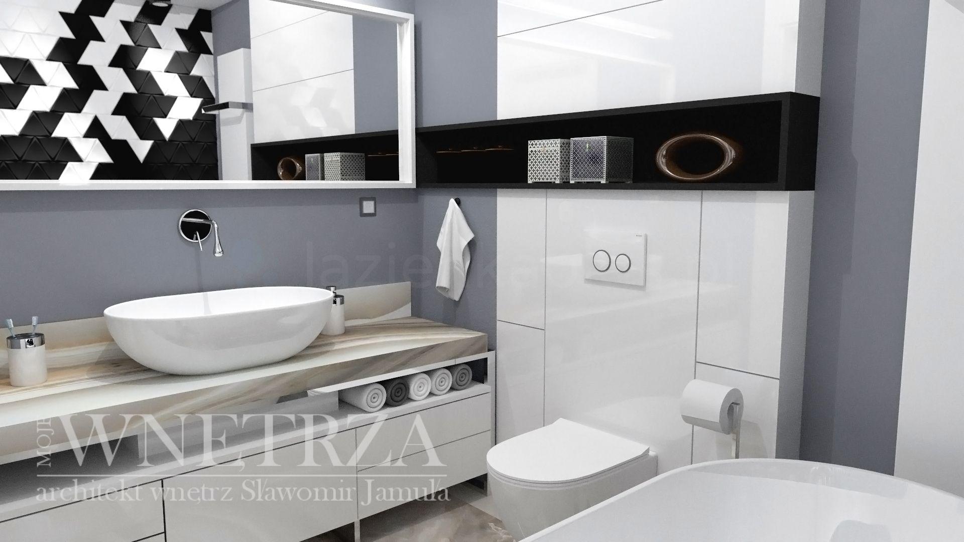 Mała łazienka z wanną i blatem