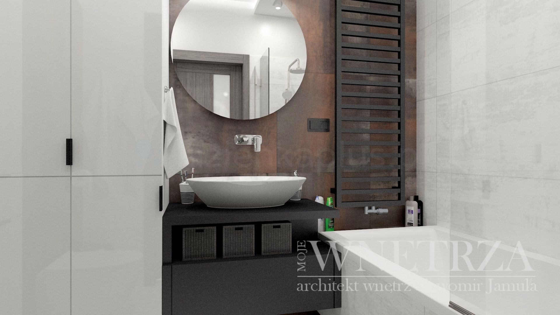 Mała łazienka z szafą i wanną