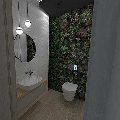 Toaleta z motywem roślinnym