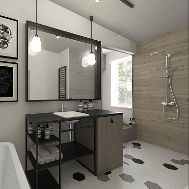 Męska łazienka w surowym stylu
