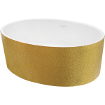Besco Uniqa umywalka 46x32 cm nablatowa owalna złota/biała #UMD-U-NGZ