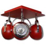 Lis Poland Scotti lampa podsufitowa 4x40W czerwona 4463PLH04