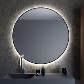 Smartwoods Bright lustro 100 cm okrągłe z oświetleniem LED czarne barwa światła neutralna