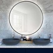 Smartwoods Bright lustro 70 cm okrągłe z oświetleniem LED czarne barwa światła zimna