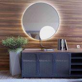Smartwoods Electra lustro 50 cm okrągłe z oświetleniem LED srebrne barwa światła ciepła