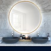 Smartwoods Bright lustro 60 cm okrągłe z oświetleniem LED złote barwa światła neutralna
