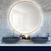 Smartwoods Bright lustro 70 cm okrągłe z oświetleniem LED złote barwa światła neutralna