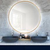 Smartwoods Bright lustro 80 cm okrągłe z oświetleniem LED złote barwa światła neutralna