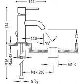 Tres Study-Tres bateria umywalkowa chrom 262.903.01.D