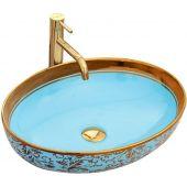 Rea Margot umywalka 52x40 cm nablatowa owalna złoty/niebieski REA-U8709