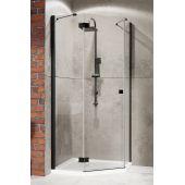 Radaway Essenza New Black PTJ kabina prysznicowa 90x90 cm pięciokątna drzwi lewe z dwiema ściankami stałymi 385010-54-01L/385050-54-01
