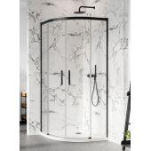 Radaway Idea Black PDD kabina prysznicowa 90 cm półokrągła szkło przezroczyste 387139-01-01/387140-54-01