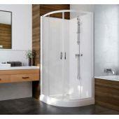 Sanplast Basic Complete KCKP4/Basic-S+BPza kabina prysznicowa 90 cm półokrągła szkło przezroczyste z brodzikiem i zestawem prysznicowym 602-460-0930-01-4B0