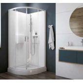 Sanplast Basic Complete KCKP4/Basic-SHP+BPza kabina prysznicowa 90 cm półokrągła szkło przezroczyste z brodzikiem i zestawem prysznicowym 602-460-0930-01-4H0