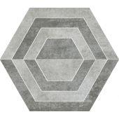 Paradyż Scratch dekoracja podłogowa Grys Heksagon A 26x29,8cm Mat