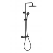 KFA Armatura Moza zestaw prysznicowy ścienny z deszczownicą czarny mat 5736-910-81