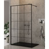 New Trendy New Modus Black ścianka prysznicowa Walk-In 140 cm szkło przezroczyste z nadrukiem EXK-0248