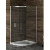 New Trendy New Komfort kabina prysznicowa 100x80 cm półokrągła asymetryczna szkło grafitowe K-0438