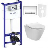 Zestaw Cersanit City Oval CleanOn miska WC wisząca z deską wolnoopadającą i stelaż podtynkowy Oltens Triberg Torne 5w1 z przyciskiem spłukującym chrom błyszczący (K35025, K980146, 58300100)