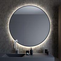 Smartwoods Bright lustro 70 cm okrągłe z oświetleniem LED czarne barwa światła neutralna