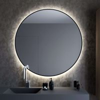 Smartwoods Bright lustro 80 cm okrągłe z oświetleniem LED czarne barwa światła neutralna