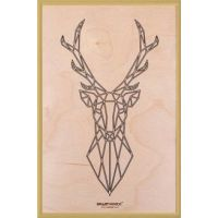 Smartwoods Deer obraz 30x20 cm rama złota