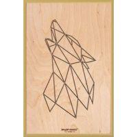 Smartwoods Wolf obraz 30x20 cm rama złota