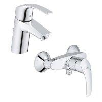 Zestaw baterii umywalkowa i prysznicowa ścienna Grohe Eurosmart New (33265002, 33555002)