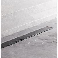 Bravat Seamless Black Glass Steel odpływ liniowy 85 cm szkło czarne polerowane SEAMLESSBLACKGLASSDRAIN85