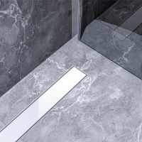 Bravat White Glass Steel odpływ liniowy 60 cm szkło białe WHITEGLASSSTEELDRAIN60