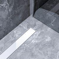 Bravat White Glass Steel odpływ liniowy 80 cm szkło białe WHITEGLASSSTEELDRAIN80