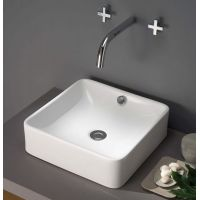 Bathco Spain Park umywalka 40 cm nablatowa kwadratowa biała 4008